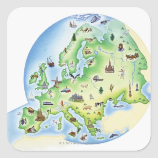 Map of Europe with illustrations of famous Square Sticker