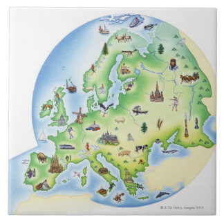 Map of Europe with illustrations of famous Tile