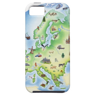 Map of Europe with illustrations of famous Tough iPhone 5 Case