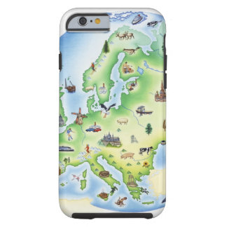 Map of Europe with illustrations of famous Tough iPhone 6 Case