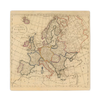 Map of Europe Wood Coaster