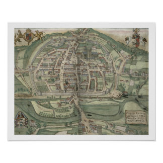 Map of Exeter, from 'Civitates Orbis Terrarum' by Poster