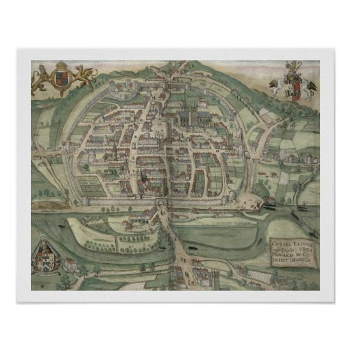 Map of Exeter, from 'Civitates Orbis Terrarum' by
