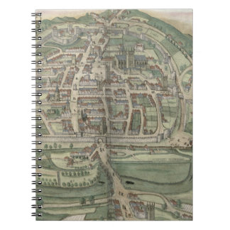 Map of Exeter, from 'Civitates Orbis Terrarum' by Spiral Notebook