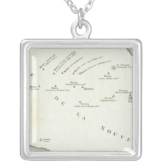 Map of false position in Mexico Silver Plated Necklace