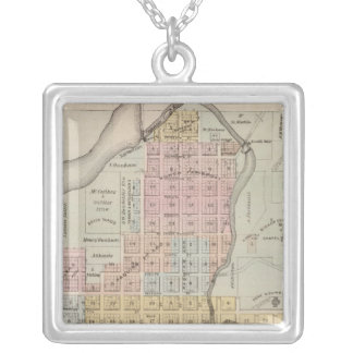 Map of Faribault, Rice County, Minnesota Silver Plated Necklace