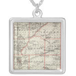 Map of Fayette County, Mt Vernon and McLeansboro Square Pendant Necklace