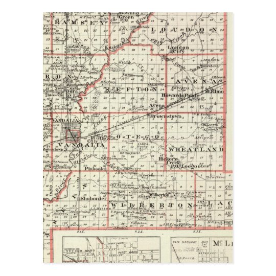 Map of Fayette County, Mt Vernon and McLeansboro Postcard