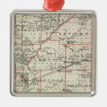 Map of Fayette County, Mt Vernon and McLeansboro Silver-Colored Square Decoration