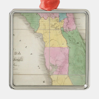 Map of Florida 2 Silver-Colored Square Decoration