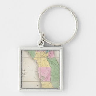 Map of Florida 2 Silver-Colored Square Key Ring