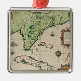Map of Florida, from 'Brevis Narratio' Silver-Colored Square Decoration