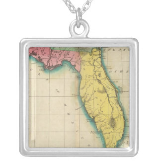 Map Of Florida Silver Plated Necklace