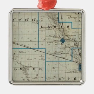 Map of Floyd County, State of Iowa Christmas Ornament