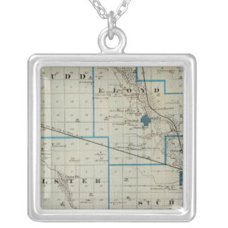 Map of Floyd County, State of Iowa Silver Plated Necklace
