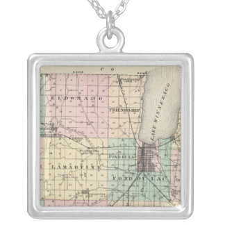 Map of Fond du Lac County, State of Wisconsin Silver Plated Necklace