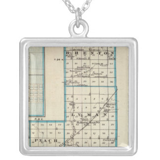 Map of Ford County and Paxton Silver Plated Necklace