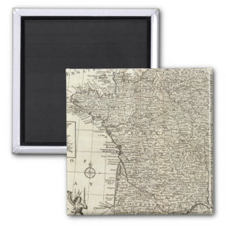 Map of France 2 Square Magnet