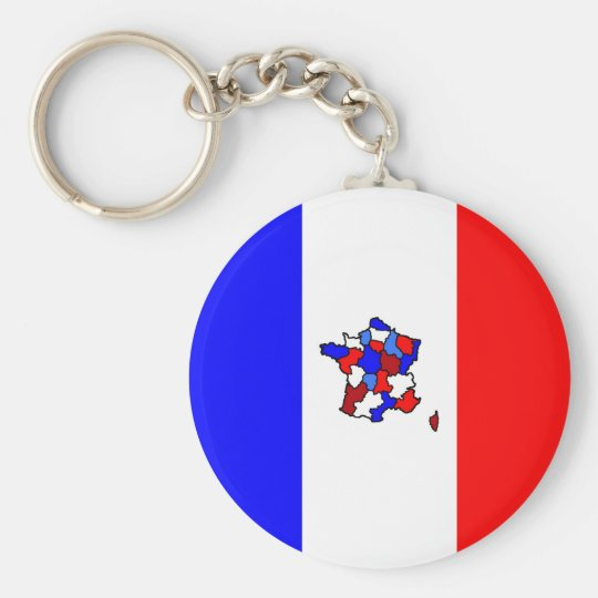 Map of France and French Flag Key Ring