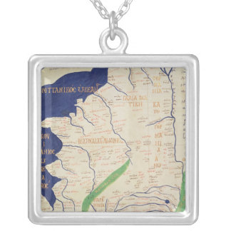 Map of France, from 'Geographia' Silver Plated Necklace