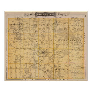 Map of Freeborn County, Minnesota Poster