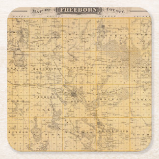 Map of Freeborn County, Minnesota Square Paper Coaster