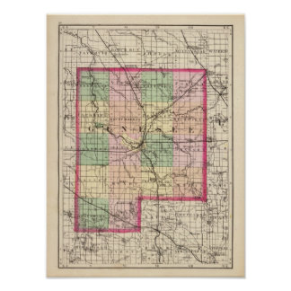 Map of Genesee County, Michigan Poster