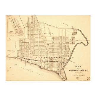 Map of Georgetown D.C. (District of Columbia) 1874 Canvas Print
