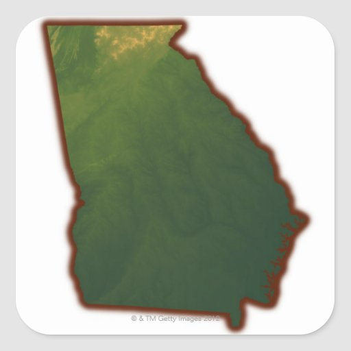 Map of Georgia 2 Square Sticker