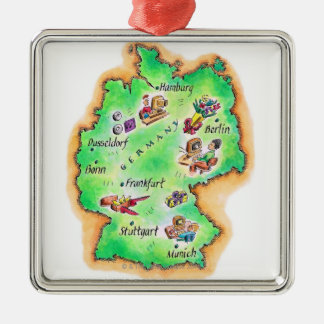 Map of Germany Silver-Colored Square Decoration