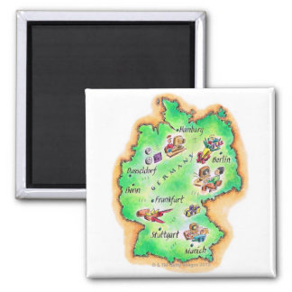 Map of Germany Square Magnet