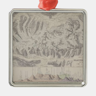 Map of Glacier Systems of the Alps Christmas Ornament