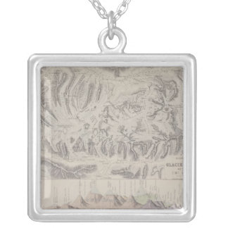Map of Glacier Systems of the Alps Silver Plated Necklace