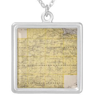 Map of Goodhue County, Minnesota Silver Plated Necklace