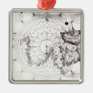 Map of Great Britain, France and Spain, 1473 Silver-Colored Square Decoration