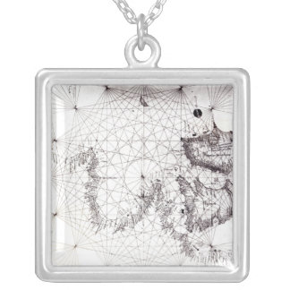 Map of Great Britain, France and Spain, 1473 Silver Plated Necklace