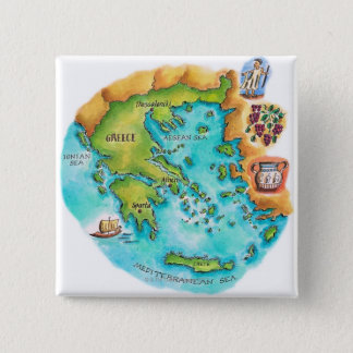 Map of Greece Isles 15 Cm Square Badge