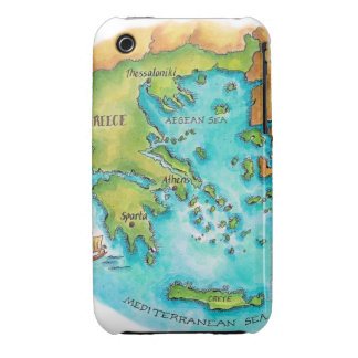 Map of Greece Isles iPhone 3 Case