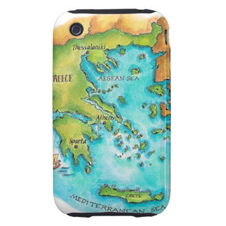 Map of Greece Isles iPhone 3 Tough Case