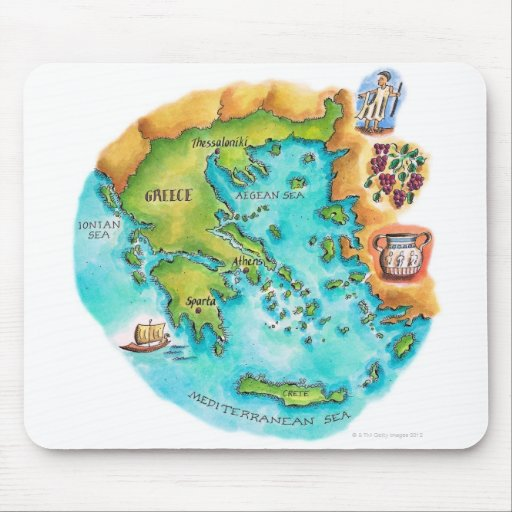Map of Greece Isles Mousepads