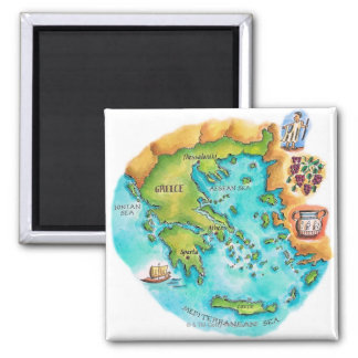 Map of Greece Isles Square Magnet