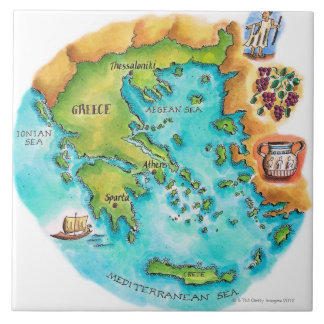 Map of Greece Isles Tile