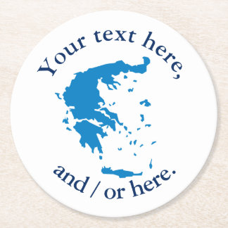 Map of Greece Round Paper Coaster
