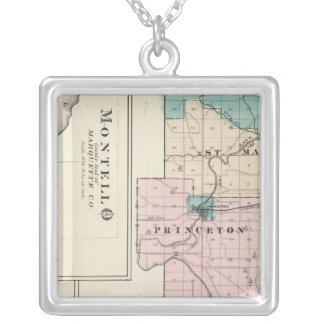 Map of Green Lake County, State of Wisconsin Silver Plated Necklace