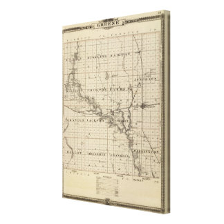 Map of Greene County, State of Iowa Canvas Print