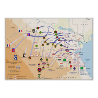 Map of Ground Operations of Operation Desert Storm Poster
