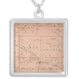 Map of Grundy County, State of Iowa Silver Plated Necklace