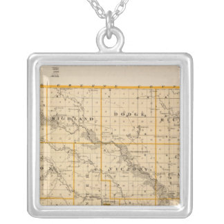 Map of Guthrie County, State of Iowa Silver Plated Necklace