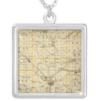 Map of Hamilton County Silver Plated Necklace