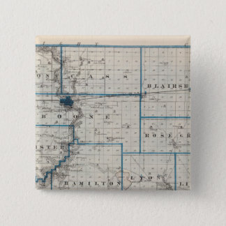 Map of Hamilton County, State of Iowa 15 Cm Square Badge